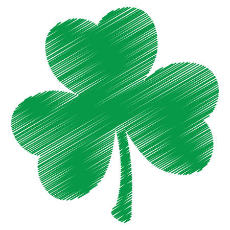 Grunge clover shamrock leaf isolated on a white background. Artistic distressed patrick day element for your design. EPS10 vector