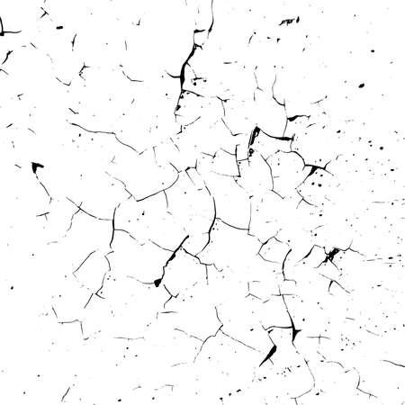 Textura de superposición de pintura agrietada angustiada. Fondo pelado dañado seco. Vector EPS10
