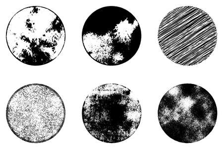 Distress Circular Textures set for your design. Grunge circle grainy used urban background. EPS10 vector. - Векторная графика Ilustrace