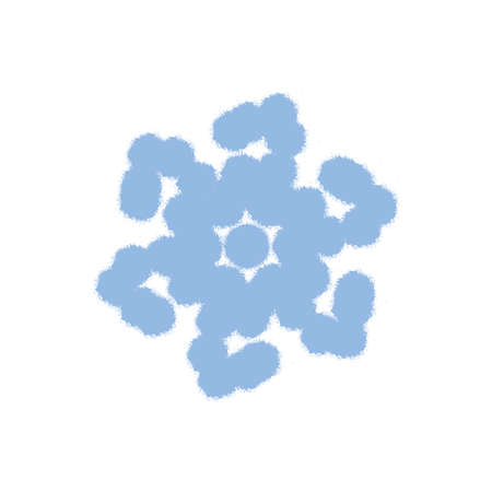 Grunge grainy snowflake isolated. Brushed christmas template. Distress painted star shape. Icon, badge, label, certificate background. Artistic design element.