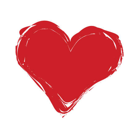Crayon painted valentine heart texture. Isolated Hand drawn red love symbol. Grunge holiday romantic sign. Stroke shaded shape. Icon, badge, label background. High detailed quality. EPS10 vector.