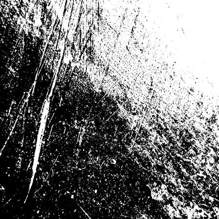 Distressed spray grainy overlay texture. Grunge dust messy background. Dirty powder rough empty cover template. Aged splatter crumb wall backdrop. Weathered drips aging design element. EPS10 vector.