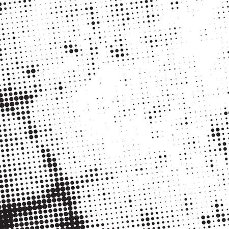Distress grunge halftone overlay texture. Dirty noise aging design template. Pop art artistic element. EPS10 vector Ilustração