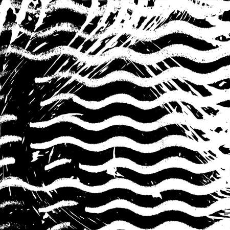 Grunge Wave Stripe overlay Background - simple texture for your design. Distress black and white cover artistic template. EPS10 vector.