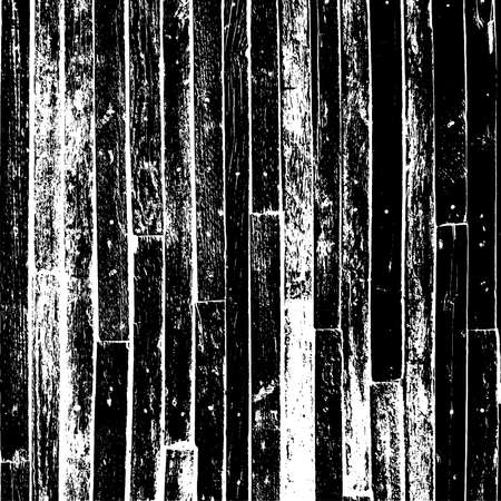Distressed grainy wood overlay texture. Grunge wooden planks messy background. Dirty rustic empty cover template. Rural fence wall backdrop. Weathered aging design element. EPS10 vector. Ilustração