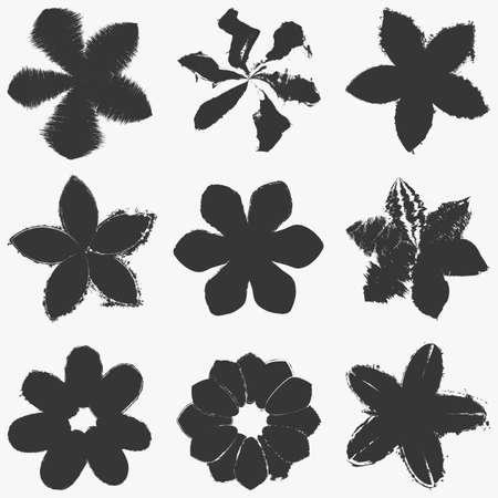 Grunge Flowers print textures set. Distress floral artistic template collection for your design. EPS10 vector.