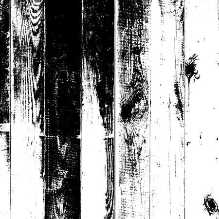 Wooden dry planks distressed overlay texture with knot. Grunge old wood black cover template. Weathered rural grainy timber backdrop. Aged dried board creative element. EPS10 vector.