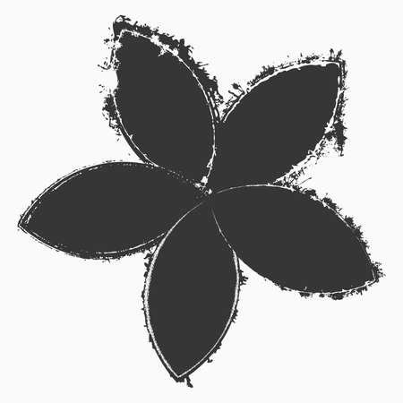 Grunge flower silhouette isolated on a white background. Distress artistic floral vintage template for your design. EPS10 vector. 向量圖像