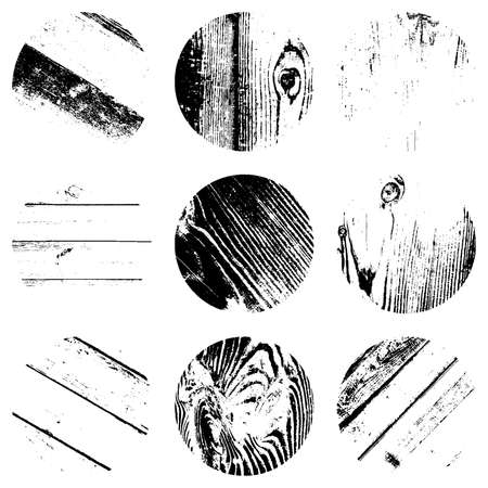 Wooden stamp round textures set. Distress circular overlay backgrounds. EPS10 vector. Illustration