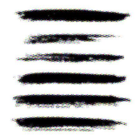 Set of grunge color halftone stroke brushes. Distress line design elements collection. Dirty artistic template. EPS10 vector. Illusztráció