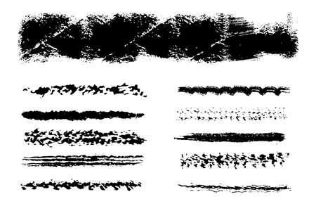 Set of grunge brushes. Distress line design elements collection. High detailed Dirty artistic template. EPS10 vector. Illusztráció