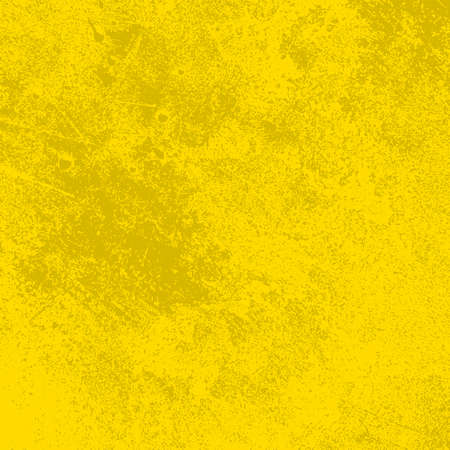 Brushed yellow paint cover. Distress urban used texture. Grunge rough dirty background. Overlay aged grainy messy template. Renovate wall scratched backdrop. Empty aging design element. EPS10 vector