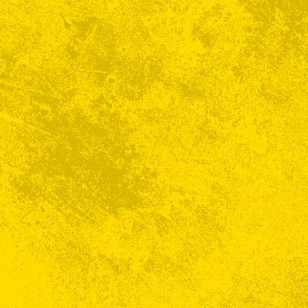 Cubierta de pintura amarilla cepillada. Angustia textura urbana usada. Fondo sucio áspero de Grunge. Superposición de plantilla desordenada granulada envejecida. Renovar el telón de fondo rayado de la pared. Elemento de diseño de envejecimiento vacío. Vector EPS10