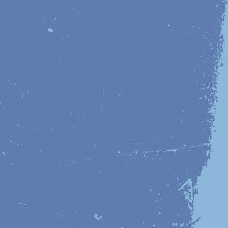 Brushed blue paint cover. Empty aging design element. Grunge rough dirty background. Overlay aged grainy messy template. Distress urban used texture. Renovate wall frame grimy backdrop. EPS10 vector