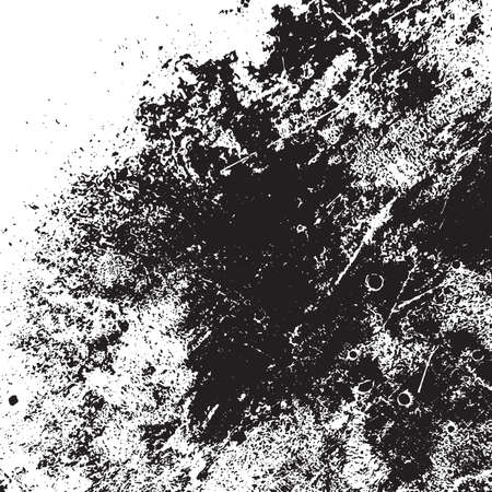 Brushed black paint cover. Grunge rough dirty background. Overlay aged grainy messy template. Distress urban used texture. Renovate wall frame grimy backdrop. Empty aging design element. EPS10 vector.