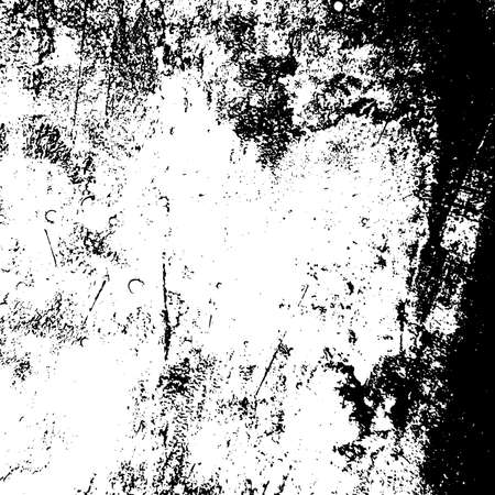 Distressed grainy overlay texture. Grunge dark corner messy background. Dirty paper empty cover template. Ink stroke brushed square shape backdrop. Insane aging border design element. EPS10 vector. Çizim