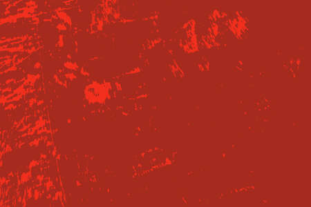 Red aged grainy messy template. Distress urban used texture. Grunge rough dirty background. Brushed color paint cover. Renovate wall scratched backdrop. Empty aging design element. EPS10 vector.