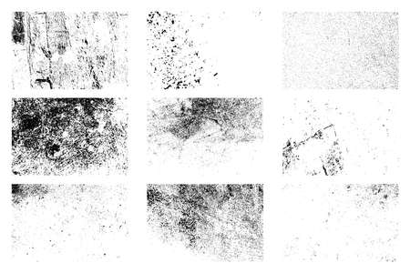 Aging creative design elements bundle. Nine dirty distressed overlay textures set. Grunge grainy backgrounds collection. Dirty black and white backdrop. Aged messy template.  vector.