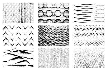Set of grid, wave, circles, rings, herrinbones and check marks textures. Grunge overlay backgrounds colletction. Distress black and white backdrop bundle.  vector.