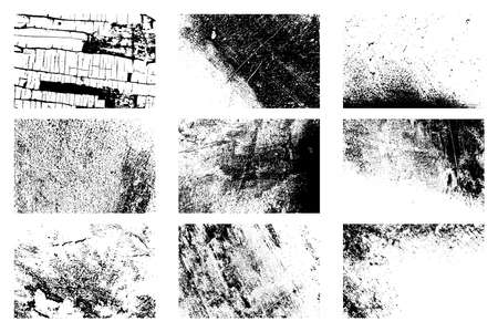 9 Grunge grainy backgrounds collection. Nine dirty distressed overlay textures set. Dirty black and white backdrop. Aging creative design element. Aged messy template.  vector. Stock Photo