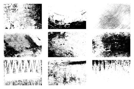 Nine dirty distressed overlay textures set. Grunge grainy backgrounds collection. Dirty black and white backdrop. Aging creative design element. Aged messy template.  vector.