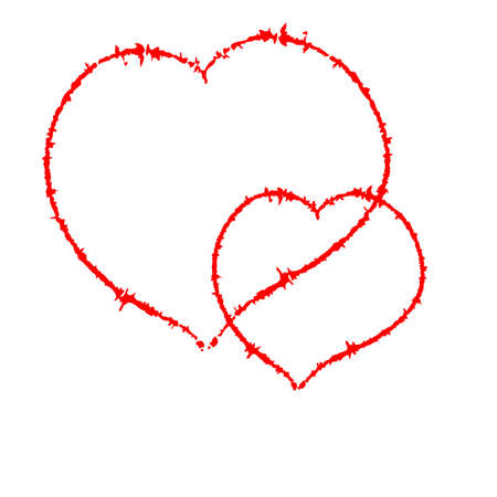 Two scrawled heart, author brush. Isolated on a white. With space for text or image.