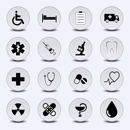 Set of icons on a medical subject, a round form, in light gray tones. EPS10 vector. Иллюстрация