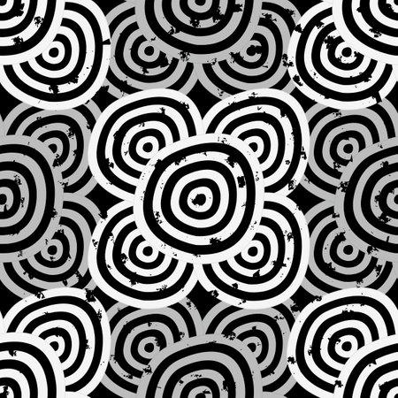 Grunge Seamless background - hypnotic black and white circles