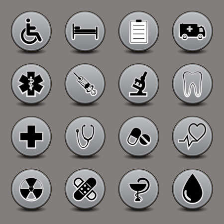 Set of icons on a medical subject, a round form, in gray tones. 向量圖像