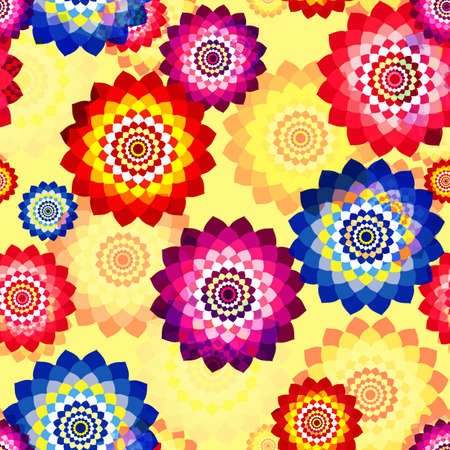 Seamless floral background with mosaic multi-colored aster flowers Vector Illustration