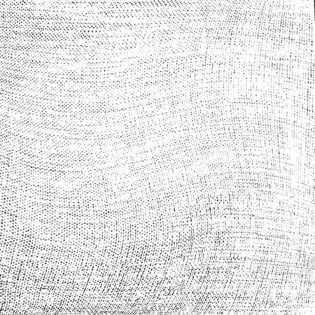 Distress thread used texture. Grunge rough dirty background. Shabby black cotton cover. Overlay aged grany messy template. Cloth linen sack backdrop. Empty aging design element. EPS10 vector. Vector Illustration