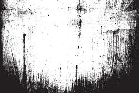 Distress Overlay Texture. Paintbrush grunge background. Black empty design element. Weathered brushed backdrop. Urban brush wall template. EPS10 vector.