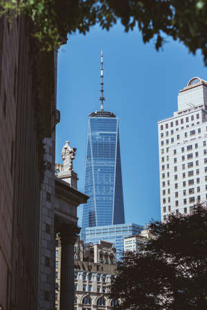 One World Trade Center with buildings around, New York City, USA Archivio Fotografico