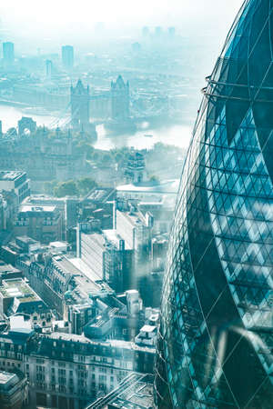 The Gherkin and the Tower Bridge aerial view of London City