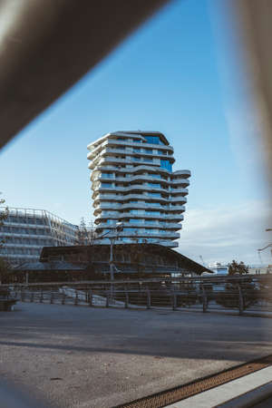Marco Polo Tower Apartments futuristic residential building in Hafencity Hamburg Germany