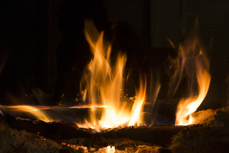 fire in the fireplace. Contemplation. Banco de Imagens