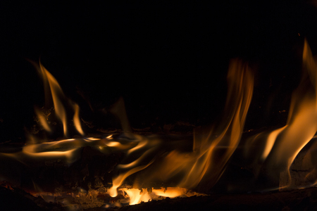 fire in the fireplace. Contemplation. Stock Photo