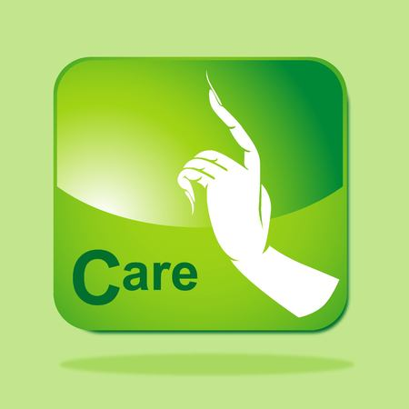 Green Eco icon concept-Care Vector