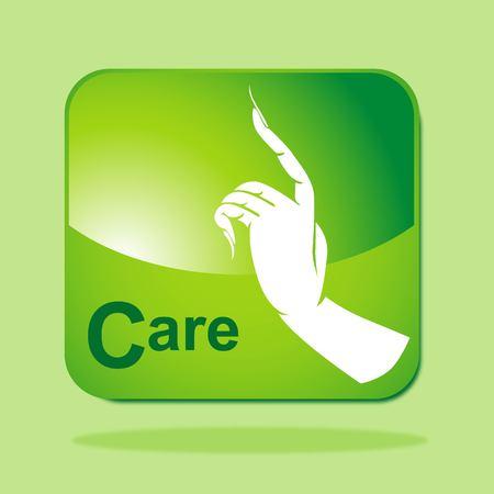 Green Eco icon concept-Care Vector