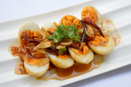 cleave: Egg with Tamarind sweet Sauce Stock Photo