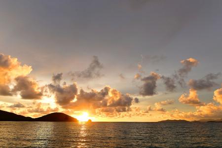 trat: Boat Sea and rocks at sunset beautiful Koh Mak, Trat of Thailand