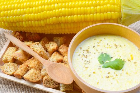 Soups, creamed corn with Crouton Stock Photo