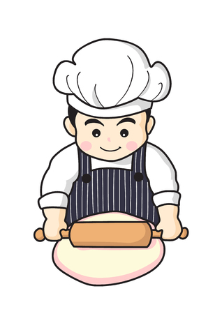 cute chef cooking Ilustracja