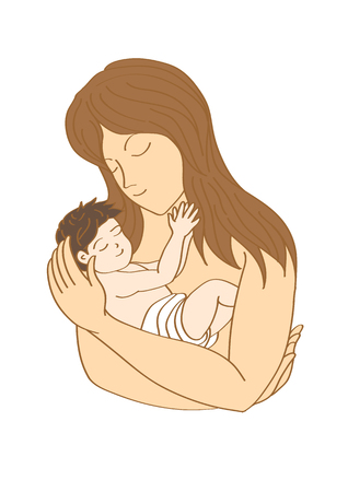 child care: mother and child, mom and baby with love & care