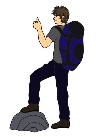 the backpacker thumb up travelling Ilustracja