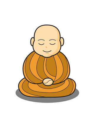 calm down: monk in meditation