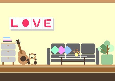 lovely living room flat design vector illustration