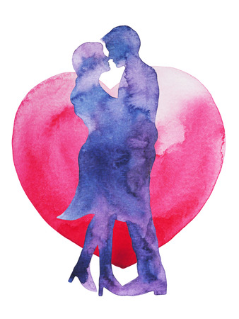 happy couple lover kissing with heart background, wedding card or engagement, engage, valentines day, happiness, watercolor painting illustration design
