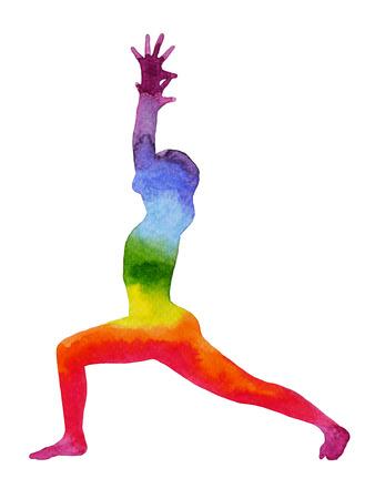 guerrero: Guerrero pose de yoga, chakra acuarela, arco iris de colores fuertes y poderosos,