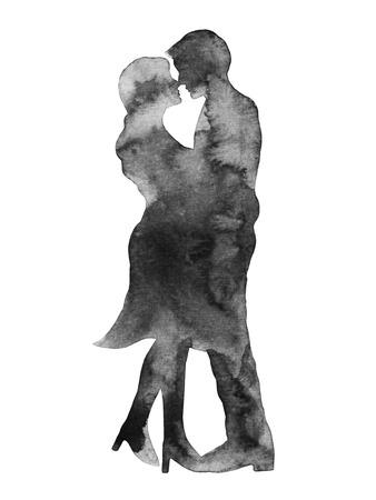 Glückliches Paar Liebhaber küssen, Hochzeitskarte oder verpflichtung, engagieren sie, valentinstag, Glück, Aquarellmalerei, Illustration, Design Standard-Bild - 41835678